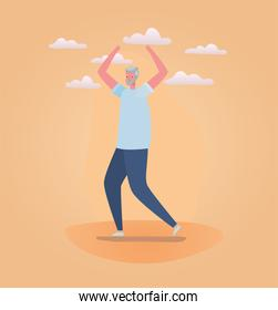 Senior man cartoon with sportswear and clouds vector design