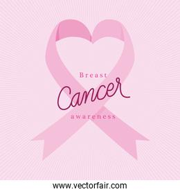 pink heart ribbon of breast cancer awareness vector design