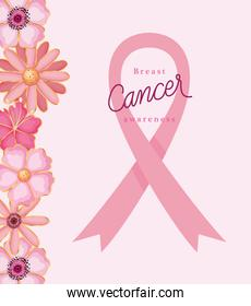 pink ribbon with flowers of breast cancer awareness vector design