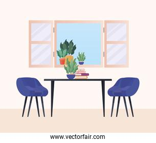 table with chairs in front of window vector design