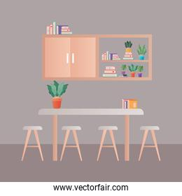 table with chairs in front of furniture vector design