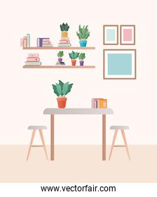 table with chairs in front of shelves vector design