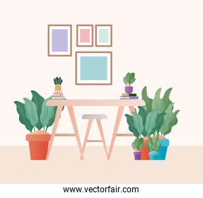 table with chairs in front of frames vector design