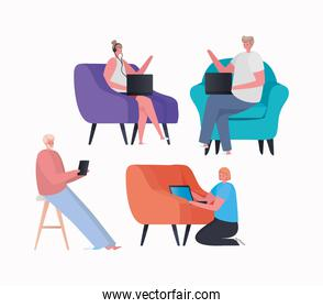 Set of women and men with laptop and tablet working on chair vector design