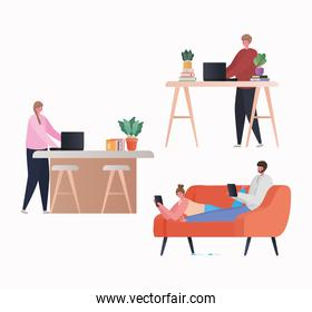 Set of women and men with laptop and tablet working on couch and table vector design