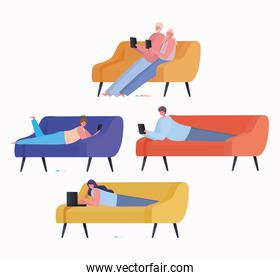 Set of women and men with laptop and tablet working on couches vector design
