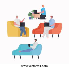 Set of woman and men with laptop and tablet working on chair couch and furniture vector design