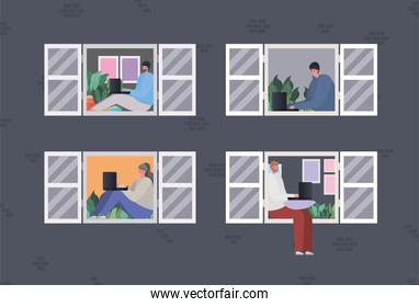 Set of woman and men with laptop working at window vector design