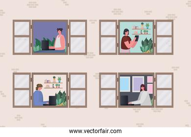 Set of women with laptop working at window vector design
