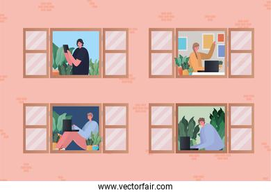 Set of women and men with laptop working at window vector design