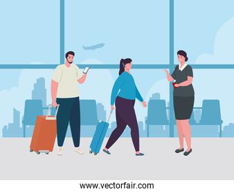 couple standing to check in, order to register for flight, woman and men with baggages waiting for plane departure at airport