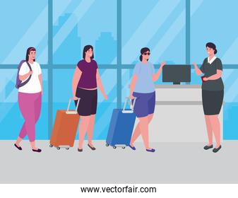 women standing to check in, order to register for flight, group female with baggages waiting for plane departure at airport