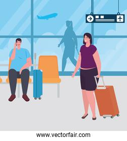 couple on the airport terminal, passengers at airport terminal with baggages