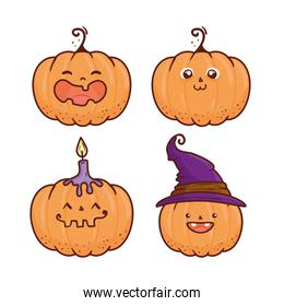 set of happy halloween scary pumpkins