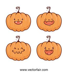 set happy halloween scary pumpkins