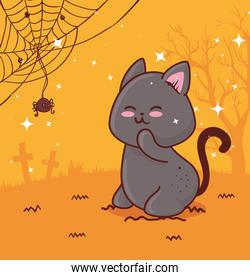 happy halloween, with cute cat and spider