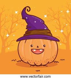 happy halloween, cute pumpkin using hat witch
