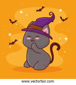 happy halloween, with cute cat using hat witch and bats flying