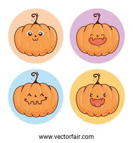 set of happy halloween scary pumpkins on round frame