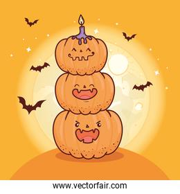 happy halloween, pile of pumpkins with bats flying