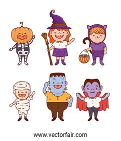 group children disguised for happy halloween
