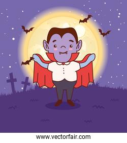 boy disguised of count dracula for happy halloween in dark night