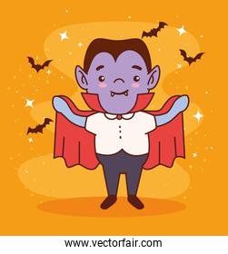 boy disguised of count dracula for happy halloween celebration with bats flying