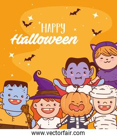 group children disguised for happy halloween celebration