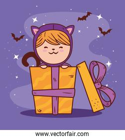 girl disguised of cute cat in gift box, for happy halloween celebration