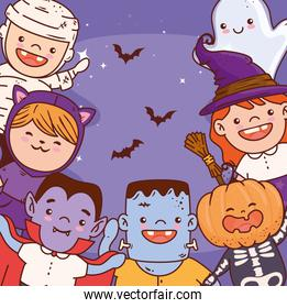 cute children disguised for happy halloween celebration