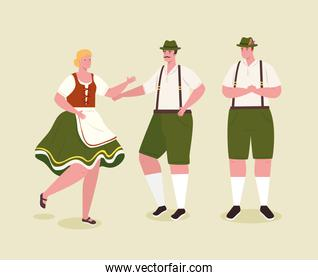 people german in national dress, men and woman in traditional bavarian costume