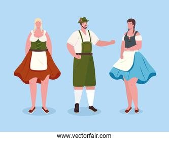 people german in national drees, women and man in traditional bavarian costume
