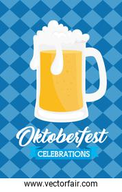 oktoberfest festival celebration with jar beer in background of chequered