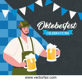 oktoberfest beer festival celebration and man wearing clothes traditional with jars beer