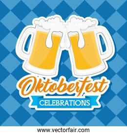 banner oktoberfest festival celebration with jars beer in background of chequered
