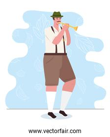 man german in national dress with trumpet, male in traditional bavarian costume