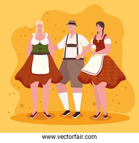 group people german in national drees, women and man in traditional bavarian costume