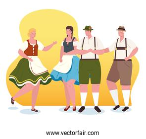 group people german in national drees, women and men in traditional bavarian costume