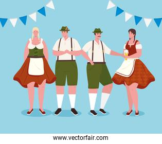 people german in national dress, women and men in traditional bavarian costume with garlands decoration