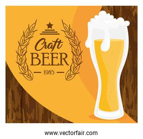 glass of beer craft, on wooden background