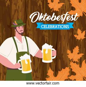 oktoberfest festival celebration and man with jars beers in wooden background