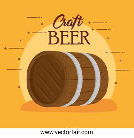 wooden barrel of beer craft, on yellow background