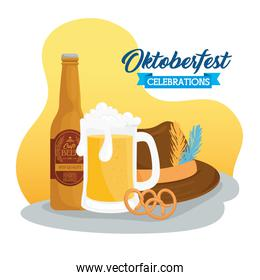 oktoberfest festival celebration with beer craft and hat tyrolean