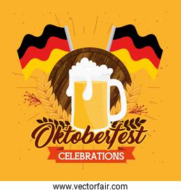 oktoberfest festival celebration with jar beer and flags germany