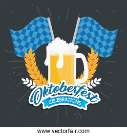 oktoberfest festival celebration with jar beer and flags checkered