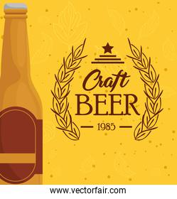 bottle of beer craft on yellow background