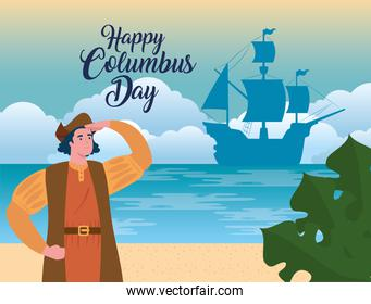 happy columbus day national usa holiday, with christopher columbus watching on beach