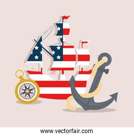 carabela of flag usa with compass and anchor for happy columbus day