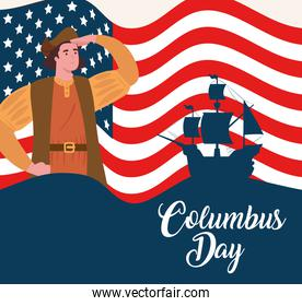 happy columbus day national usa holiday, with background flag united states of america