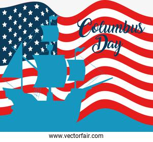 happy columbus day national usa holiday, with silhouette ship carabela on background flag united states of america